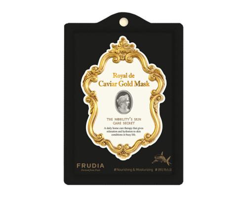 Омолаживающая тканевая маска для лица с экстрактом икры и золотом Frudia royal de caviar gold mask