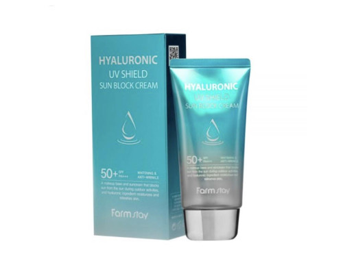 Солнцезащитный крем-праймер для лица с гиалуроновой кислотой Farmstay Hyaluronic UV Shield Sun Block Cream SPF50/PA+++